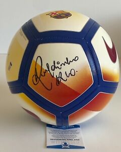 Ronaldinho Signed FC Barcelona Full Size Logo Soccer Ball Inscribed Rio BAS