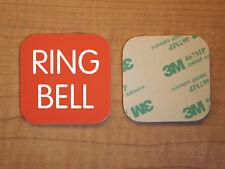 Engraved 2x2 Orange RING BELL Plastic Tag Sign Plate Doorbell Plate Door Plaque
