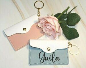 Personalised Beautiful Quality Leather Card Holder Keyring Custom Gift Grey Pink