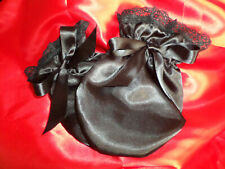 ADULT BABY SISSY BLACK SATIN MITTENS   SATIN LINED AND BOWS LACE TRIM