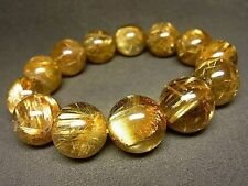 17MM 9A Natural Emperor Taichin Golden Rutilated Quartz Round Beads Bracelet BL9