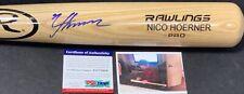 Nico Hoerner Chicago Cubs Signed Engraved Bat PSA WITNESS COA Blonde