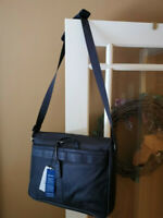 Kenneth Cole messenger bag brown leather RFID tablet laptop carry on purse