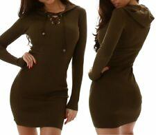 SEXY Miss Damen Mini Ripp Strick Kleid Long Pulli Langarm Schnürung XS/S Olive