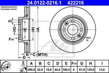 2x Bremsscheibe für Bremsanlage Vorderachse ATE 24.0122-0216.1