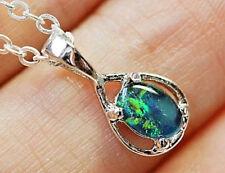 Triplet opale Australie sertie en pendentif argent sterling 14x6x3mm 2 carats