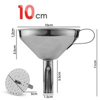10cm Stainless Steel Wide-Mouth Funnel With Removable Cone Filter Kitchen Craft