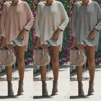 UK Womens Knitted Knitwear Long Sleeve Casual Loose Tops Sweater Pullover Plus