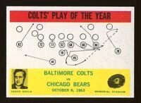 1964 Philadelphia #14 Baltimore Colts Play card Don Shula HOF Rookie NM+