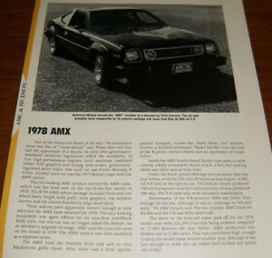 ★★1978 AMC AMX SPECS INFO PHOTO 78 CONCORD 304 V8 258 AMERICAN MOTORS★★