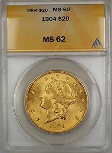 1904 $20 Liberty Double Eagle Gold Coin ANACS MS-62 SB (A)