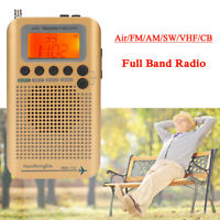 Portable Digital Stereo Full Band Radio Air FM AM SW VHF CB Receiver Alarm Clock