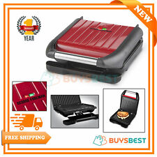 George Foreman 3 Portion Grill Non-stick Coated Plates For Healthy Foods In Red