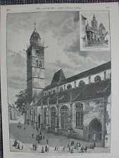 Münster St. Nikolaus Überlingen Bodensee HOLZSTICH von 1889 Nordturm