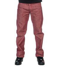 Mens Levi Strauss Levi's 501 Straight Shrink Fit Denim Jeans Pants Red 38 x 32