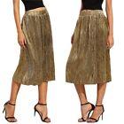 Fashion Sexy Women Pleated Swing Golden Long Maxi Dress Punk Elastic Waist Skirt