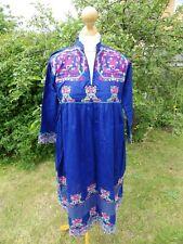 Vintage Indian blue cotton embroidered summer boho folk festival dress 12 M