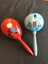 Vintage Gourd Maracas Percussion Musical Instruments Hand Made Mexico Handpaint