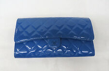 Chanel Quilted Patent Leather Wallet Clutch Royal Blue