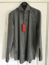 "Hugo Boss Homme Jason Slim Fit Formal Shirt Gris Taille 41 cm 16"" NEUF"
