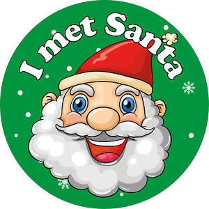 144 x I met Santa Stickers, Christmas xmas labels For Grotto Helpers Elves GREEN