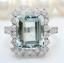 5.70 Carat Natural Blue Aquamarine and Diamonds in 14K Solid White Gold Ring
