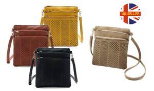 Three-Zip Cross-Body Handbag Womens Small Shoulder Bag Handbag Purse Pouch