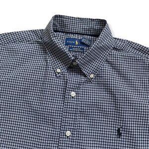 "Vintage RALPH LAUREN Shirt | Large L | Black Check Stretch Long Sleeve 50"" Chest"