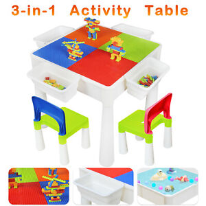 Kids Multi Activity Table Set for Toddler Building Block Water Craft In-Outdoor