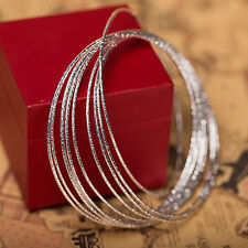 Women Nine Serial Silver Outer Bracelets multi layer Wire Bangles Cuff Boho Punk