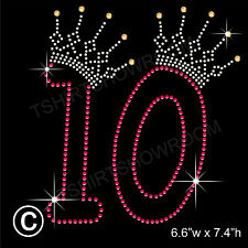 Compleanno numero 10 con strass / Diamante transfer HOTFIX FERRO DA STIRO Motif + regalo gratuito