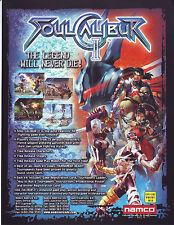 Namco SOUL CALIBUR II Original 2001 Video Arcade Game Promo Sales Flyer Artwork