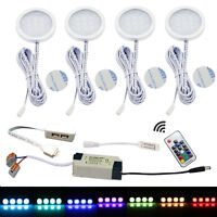 AIBOO LED RGB Hardwired Under Cabinet Direct Wire Lighting RF Dimmable Pack of 4