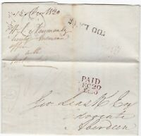! 1830 YORK TOO LATE PMK PRINTED INSURANCE LETTER W L NEWMAN FARM & STOCK RATES