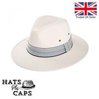 Cotton Summer Fedora Wide Brim Sun Hat Mens Womans Panama Style