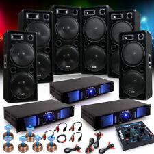 9000W PA Party Fasching Musikanlage 6x Boxen 3x Verstärker USB MP3 Mixer DJ-Jeck