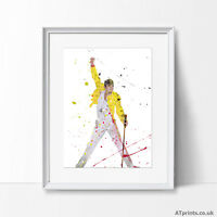 Freddy Mercury Queen Print Poster Watercolour Canvas Wall Art Gift Music