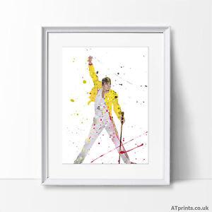 Freddie Mercury Queen Print Poster Watercolour Canvas Wall Art Gift Music
