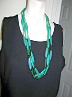Multi Strand Necklace Green Lucite Elongated Beads & Micro Beads 30""