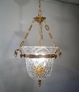 Antique Vintage Chandelier Crystal Basket  Pendant 5 Light Bronze Fixture