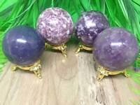 Natural Lepidolite Sphere Round Crystal Ball Healing Sphere Rock Stone