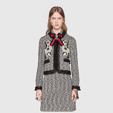NWT $4.8K Gucci Embroidered Spaniel dogs Tweed Jacket, Size IT 42 (M)
