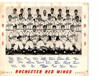 1953 ROCHESTER RED WINGS TEAM 8X10  PHOTO CLARK MOON  BASEBALL NEW YORK