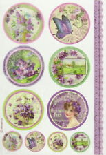 Rice Paper for Decoupage Scrapbook Craft Sheet - Violet Tags