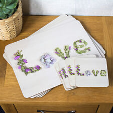 Set of 4 Placemats and Coasters Floral Love Flowers Table Place Setting Mats