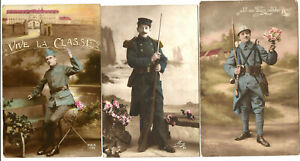 WW1,3 French Soldiers postcards.The 3 write on back.