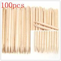 100X Nail Art Orange Wood Stick Cuticle Pusher Remover Pedicure Manicure Tool