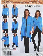 Simplicity 1065 Misses Wrap Twist Tie Cardigan Knit Wrap Sewing Pattern Sz XS-XL