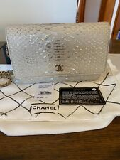 Auth Chanel Python O-Mini Bag Lame/Light Gold Hardware Stunning Mint Condition