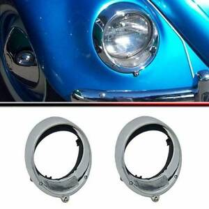 VW BEETLE 1955-70 HEADLAMP HEADLIGHT RIM CHROME T1 BUG TYPE 1 Assembly Porsche